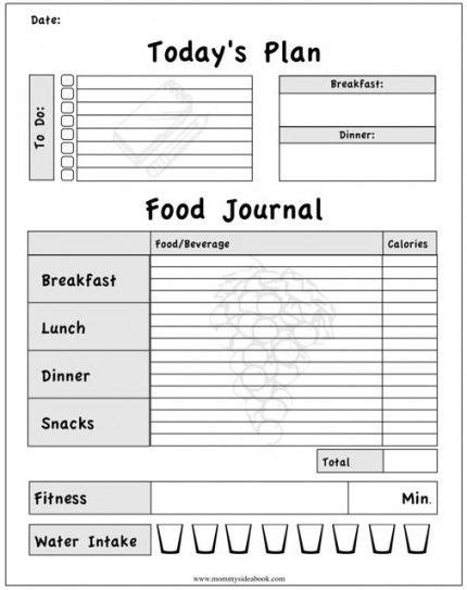 printable food diary form printable workout journal for myself to track my