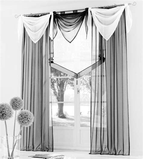 vorhang store 2 st gardine voile 145 x 225 grau schlaufen schal