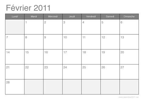 Calendrier Fevrier 2011 Calendrier 2011 192 Imprimer