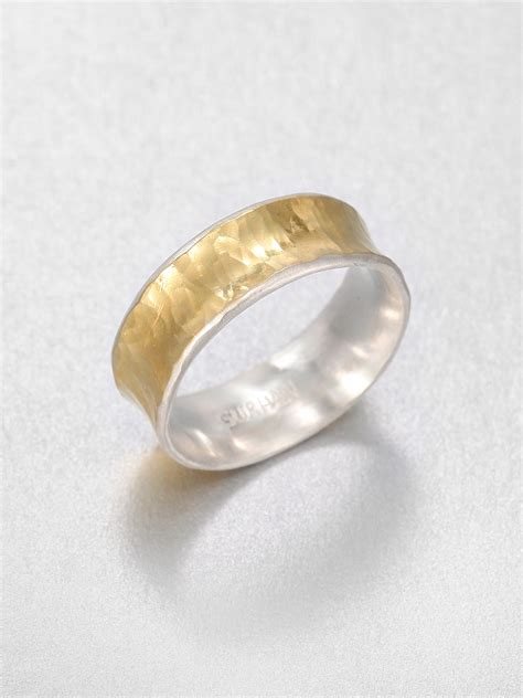 gurhan 24k yellow gold and sterling silver ring in gold