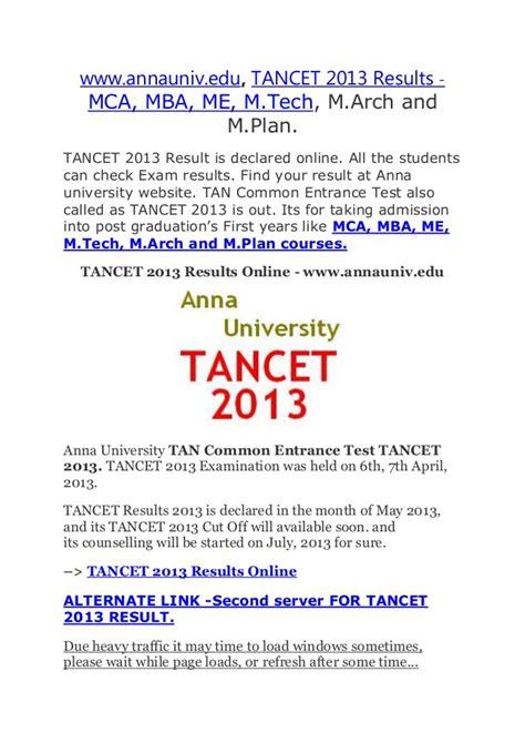 Mba Results 2013 Ou by Www Annauniv Edu Tancet 2013 Results Mca Mba Me M Tech