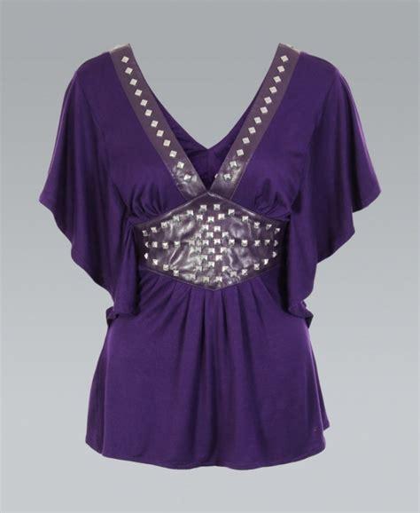 Top Purple purple batwing spiked pu top