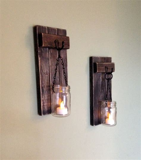 Wood Wall Sconce Rustic Wall Decor Wall Sconce Wooden Sconce Wooden Candle