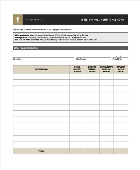 403 B Plan Document Template Sle Payroll Remittance Form 8 Free Documents In Pdf