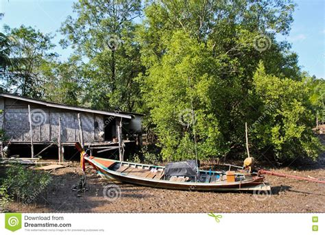 thai boat house thai house and a long tailed boat stock image image 23549591