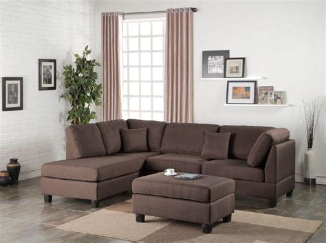 plush sectionals chocolate plush linen like fabric 3pc sectional sofa ottoman