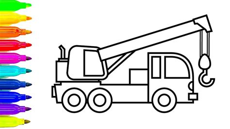 coloring page crane truck learn colors with construction truck coloring pages crane