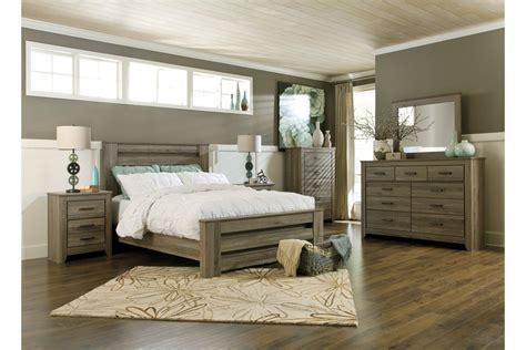 zelen  piece queen poster bedroom set  ashley furniture