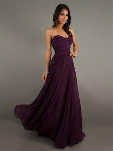 eggplant colored chiffon sweetheart floor length dress