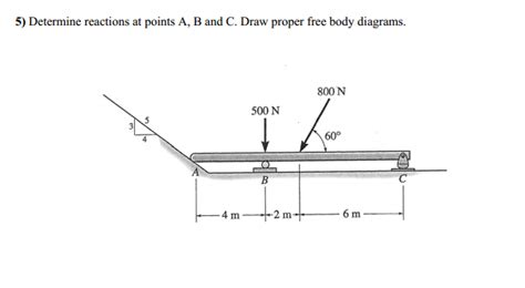 design free body diagram solved statics determine reactions at points a b and c