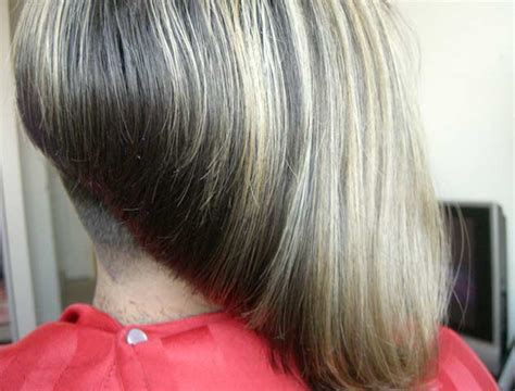 womens getting severe bob angled haircut shaved nape picture short hairstyle 2013