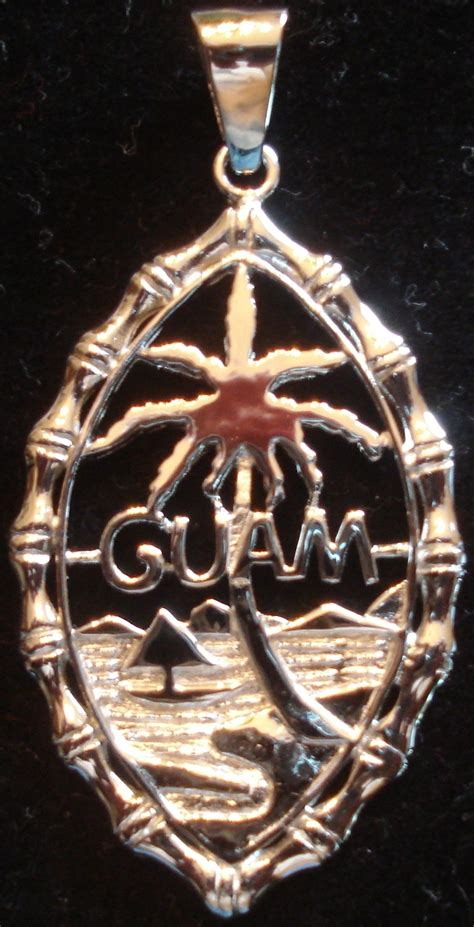 silver rhodium plated large bamboo guam seal