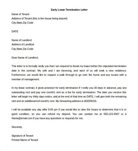 Termination Of Tenancy Agreement Letter Singapore Sle Lease Termination Letter From Landlord To Tenant