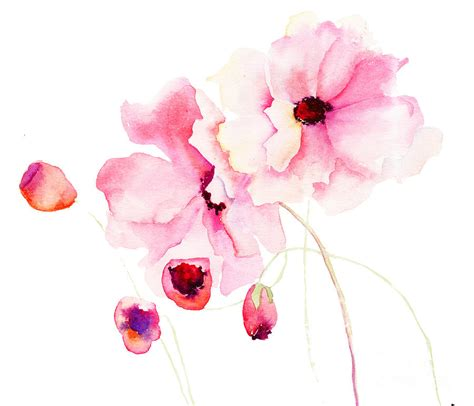 Japanese Cherry Blossom Home Decor colorful pink flowers painting by regina jershova