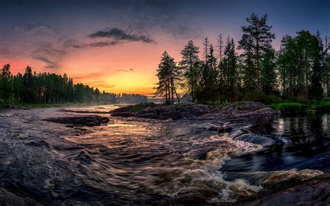 wallpaper trees river sunset  hd picture image