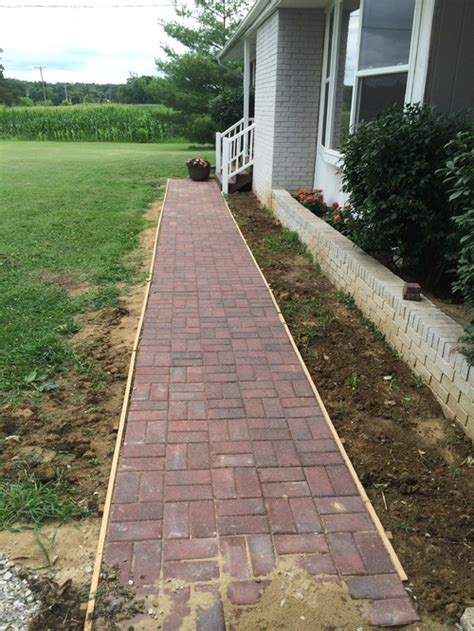 ideas with landscaping for brick sidewalk that is parallel with house