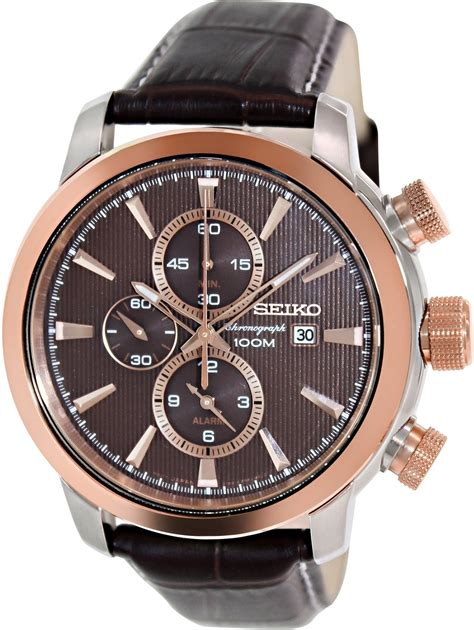 Swiss Army Chronograph Sa8912 Rosegold Black Brown seiko s gold plated stainless steel black brown leather snaf52p1 snaf52p1