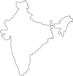 India Physical Map Outline In A4 Size by India Outline Map