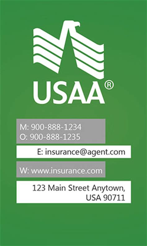 green usaa business card design