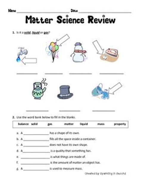 Matter Review Worksheet by 13 Best Worksheets Images On Science Classroom