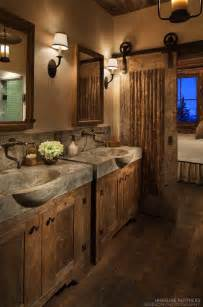 Rustic bathroom d 233 cor with concrete sinks and barn door