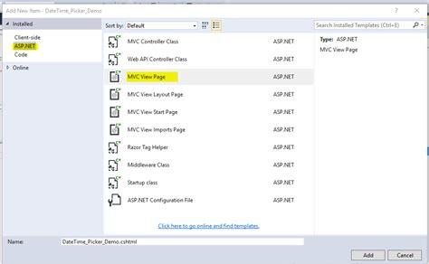add layout to view in mvc date time picker in asp net core using jquery plugin