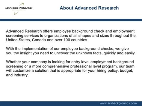 Employment Background Check Companies Ars Backgrounds Pre Employment Background Check Screening Services