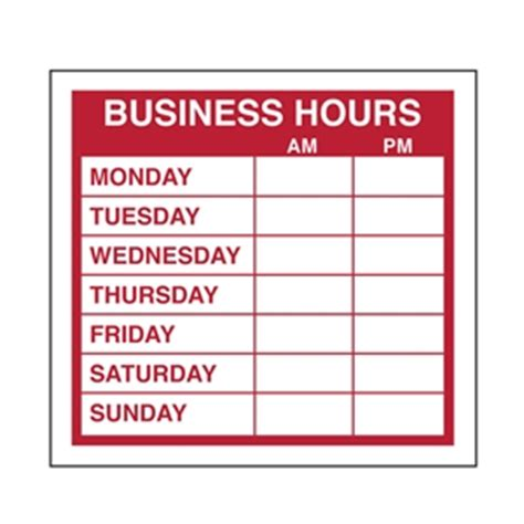 4 best images of free printable business hours sign sign business hours door plastic 300x200mm black blue on