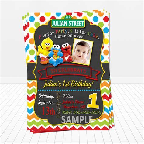 st birthday printed baby sesame birthday invitations baby elmo