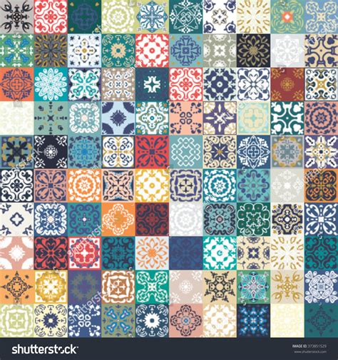 Moroccan Patchwork Tiles - floral patchwork tile design colorful moroccan stock
