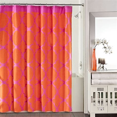 Shower Curtains Orange Buy Studio 3b Fret Shower Curtain In Pink Orange From Bed Bath Beyond