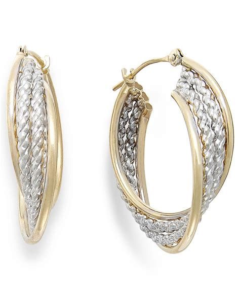 macy s two tone rope hoop earrings in 10k gold in metallic