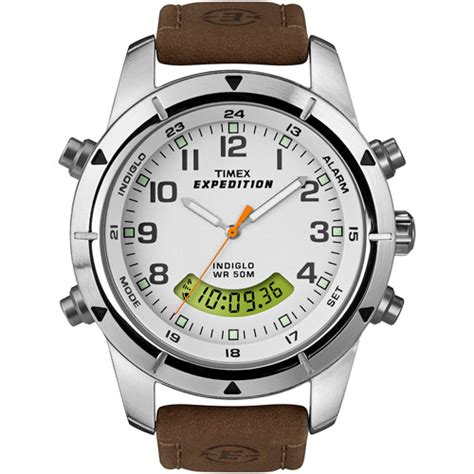 rugged analog timex s expedition rugged chronograph analog digital brown genuine leather