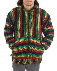Drug Rug Jacket Baja Joe Men S Zip Hoodie Poncho Rasta Mexican Surfer