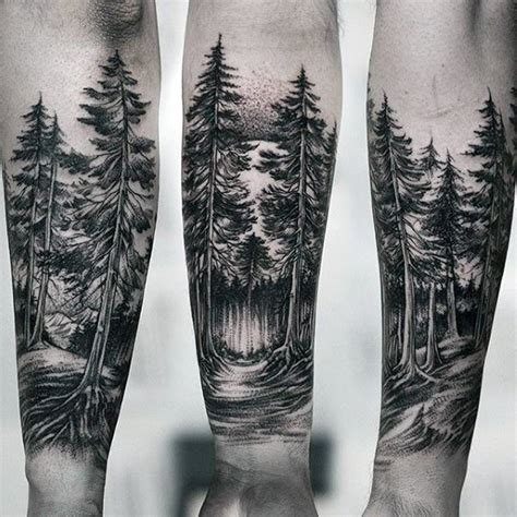 forearm forest tattoo 100 forest designs for masculine tree ink ideas