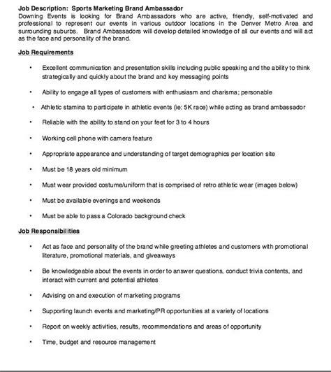 brand ambassador description resume sports marketing brand ambassador description resume http resumesdesign sports