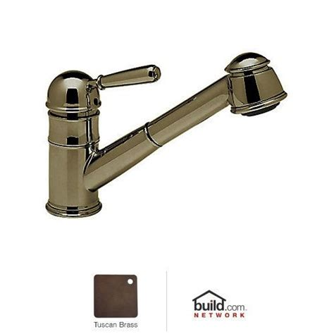 rohl r77v3 tuscan brass country kitchen faucet with pull