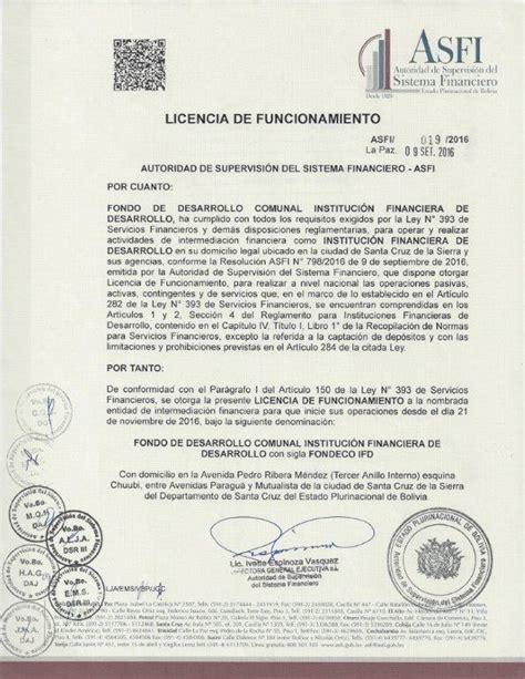tasa de licencia de funcionamiento del 2016 fondeco ifd adquiere su licencia de funcionamiento asfi