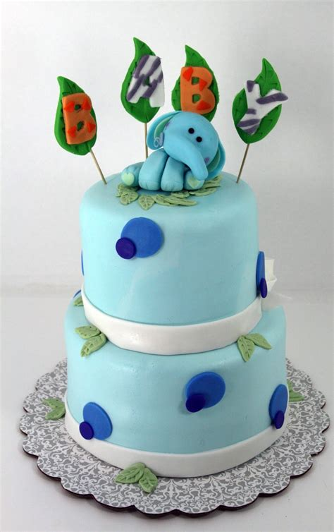 Elephant Baby Shower Cake by Tastefully Done Jungle Elephant Baby Shower Cake