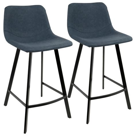 Blue Suede Bar Stools by Lumisource Outlaw Industrial Blue Counter Stool Faux Suede