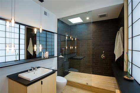 Modern Japanese Bathroom Doorless Walk In Shower Bathroom Contemporary With Cabinetry Ceiling Lighting Door