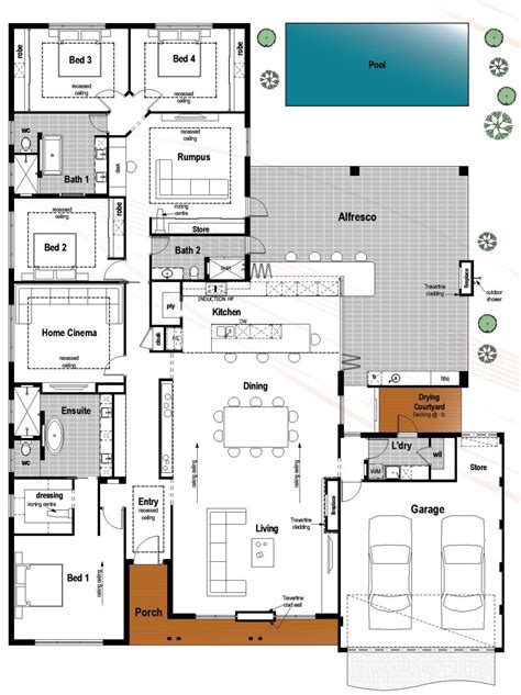 Building Floor Plan Floor Plan Friday 4 Bedroom 3 Bathroom With Modern Skillion Roof