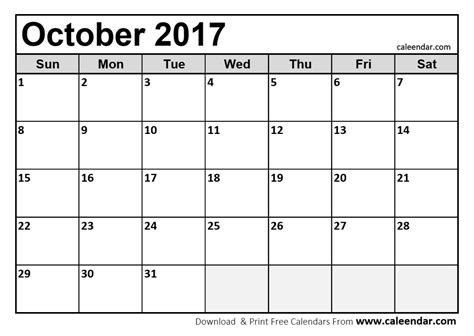 october 2017 calendar pdf printable template with holidays pdf