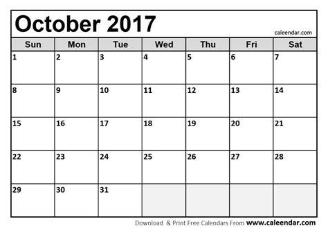 Printable October 2017 Calendar Pdf