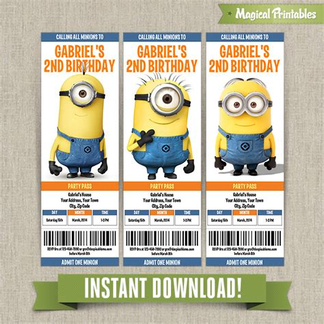 11 piece birthday party printable set instant download despicable me minions birthday ticket invitations