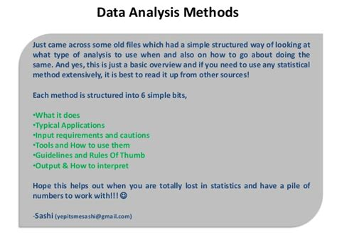 Analysis Methods Sle Essay About Data Analysis Methods In Research Methodology