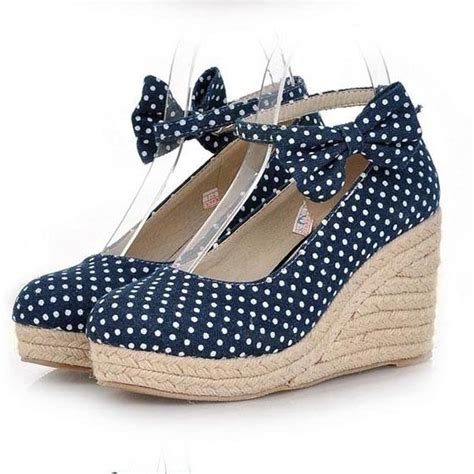 fashion polka dot canvas wedge shoes for sweet bow