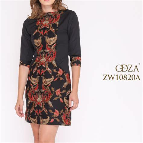 jual dress batik modern wanita kombinasi model terbaru