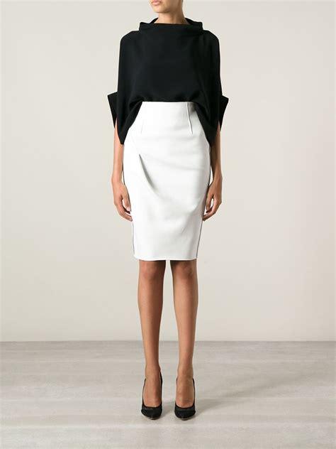 emporio armani pencil skirt in white lyst