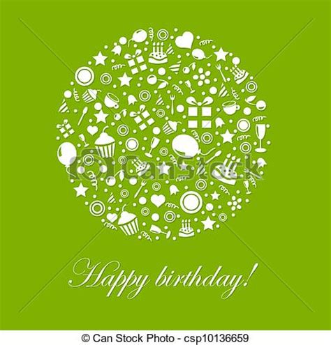 green happy birthday card isolated  white background